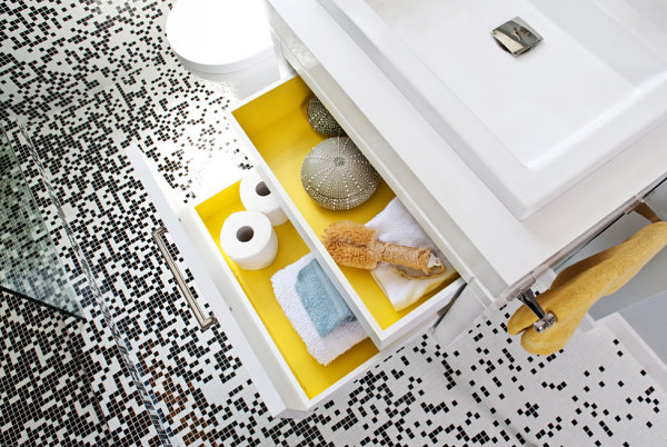 Colorful bathroom drawers