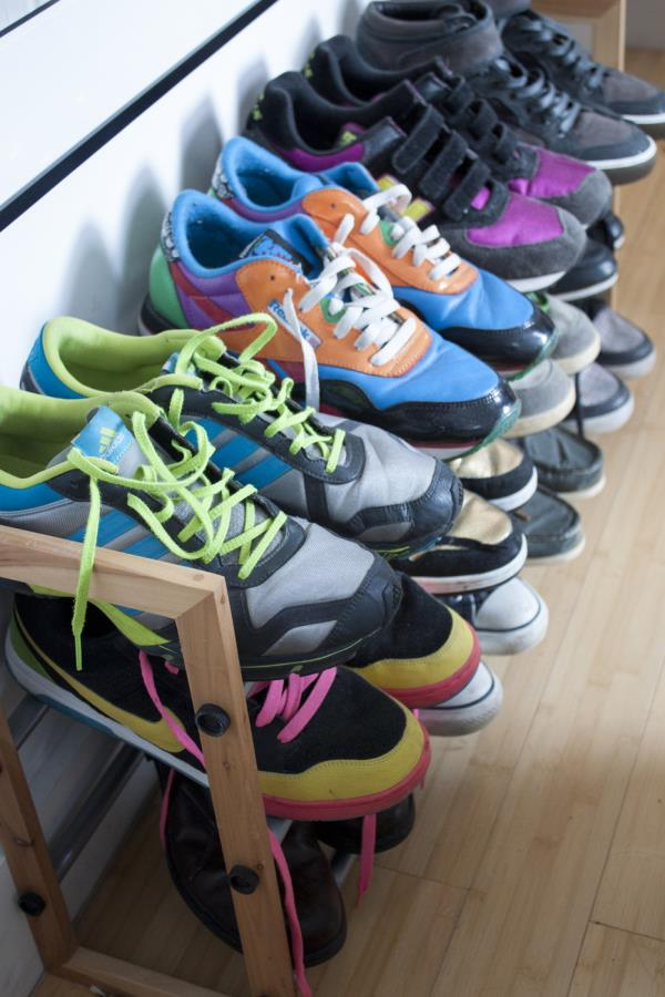 Colorful sneakers in a tidy closet