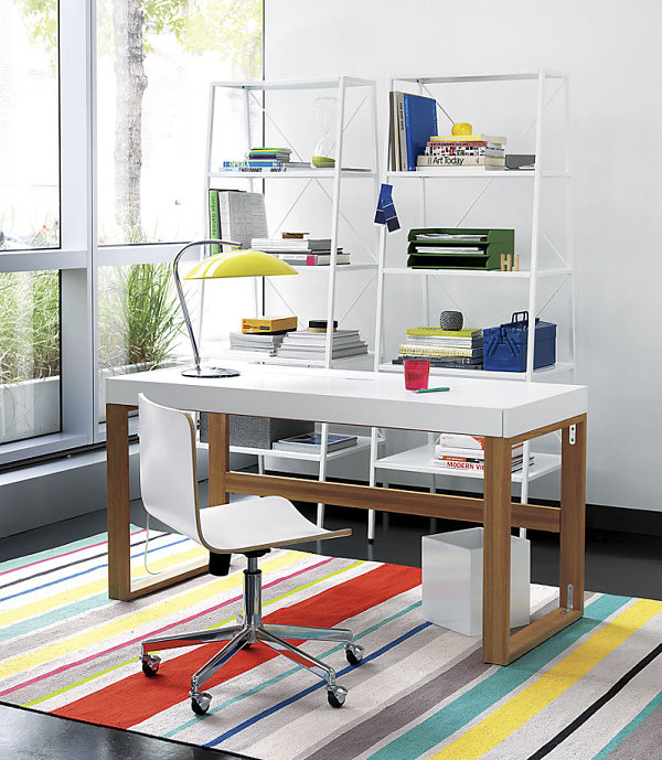 Colorful striped dhurrie rug