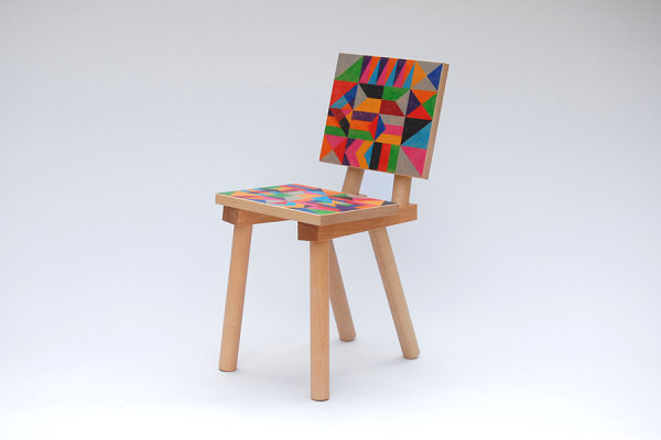 Colorful wooden geometric chair