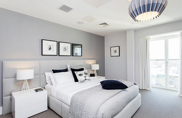 Combination of light grey, white and blue for the bedroom