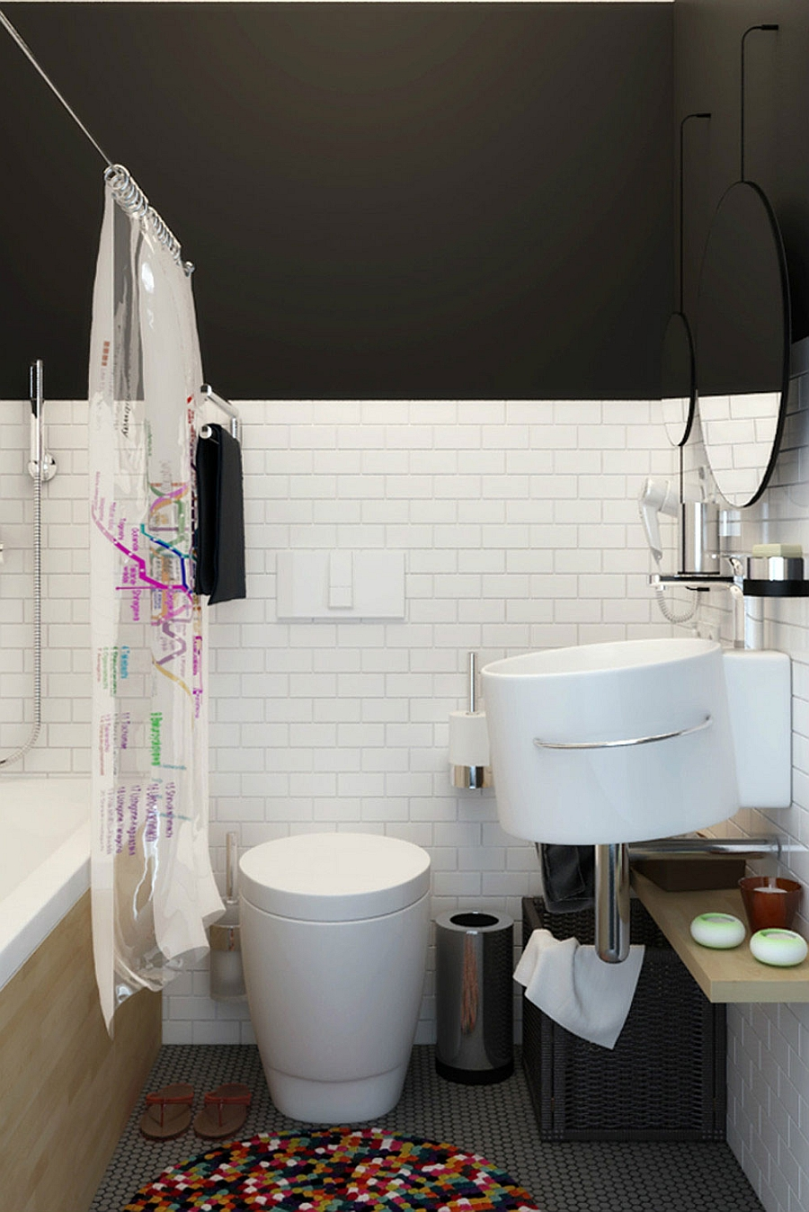 bathroom ideas for attic bathrooms - Tiny Apartment In Black And White Charms With Space Saving