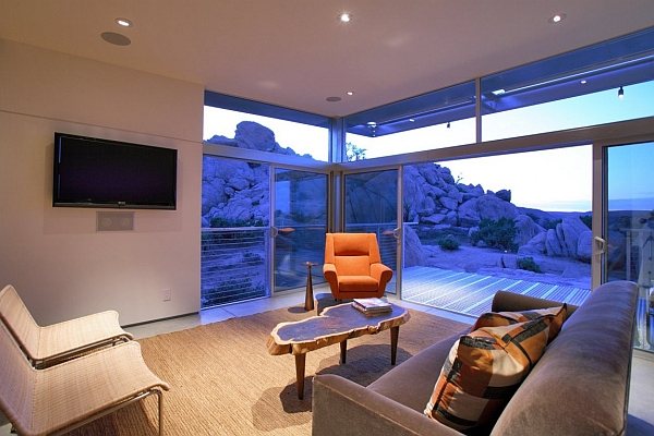 Compact living space with sliding glass doors