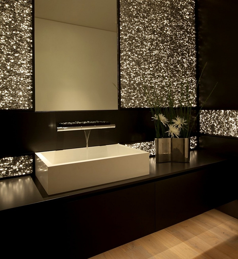 Contemporary bathroom in black with white sink