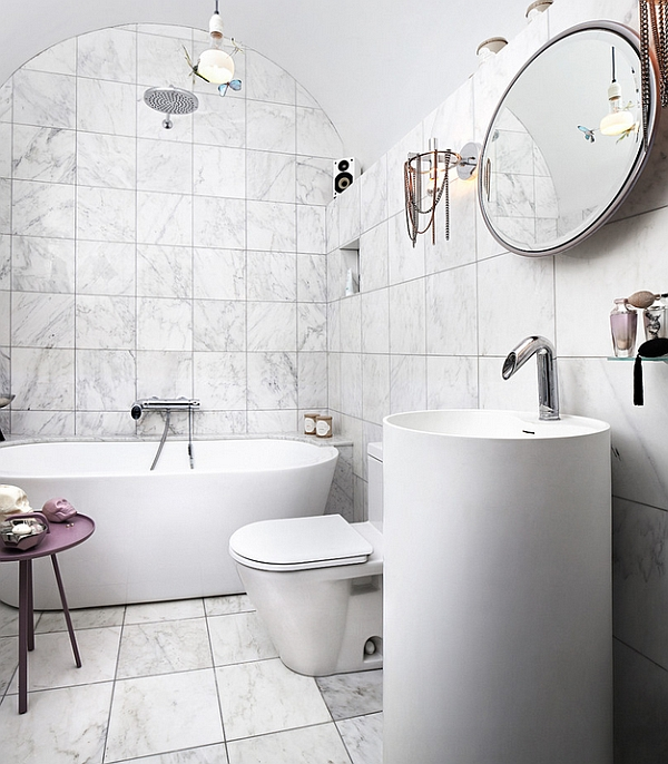 Contemporary bathroom in white with purple accents