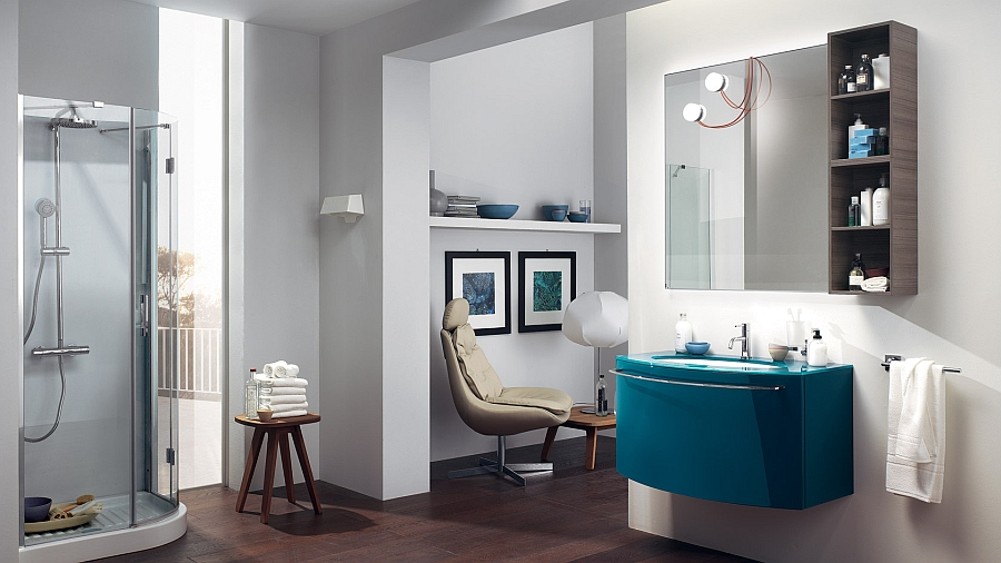 Contemporary bathroom with bright accent color
