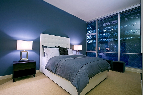 Contemporary bedroom in blue
