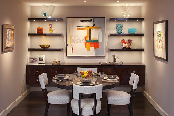 Small dining rooms that save up on space for Dining area wall design
