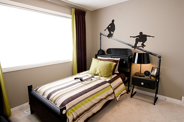 Contemporary kids' room with X-Games wall decal