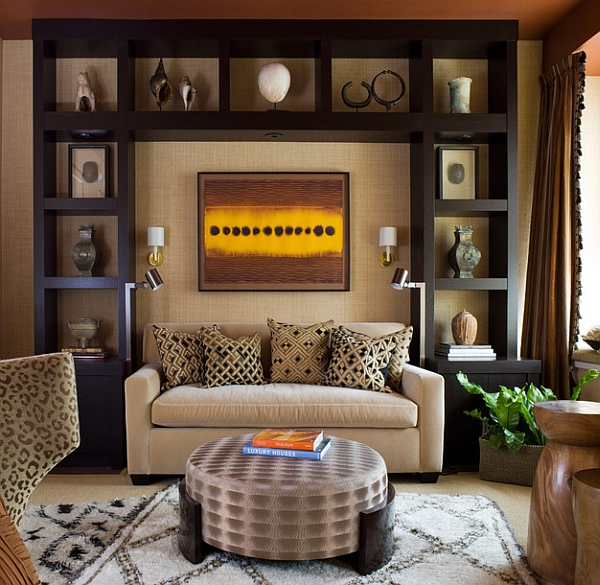 contemporary living room with a fabulous display and a moroccan rug