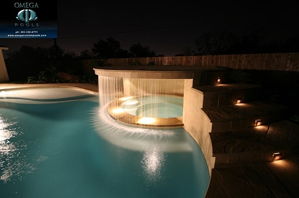 pool waterfall lighting. view in gallery contemporary pool waterfall design with a clean and well defined look lighting l