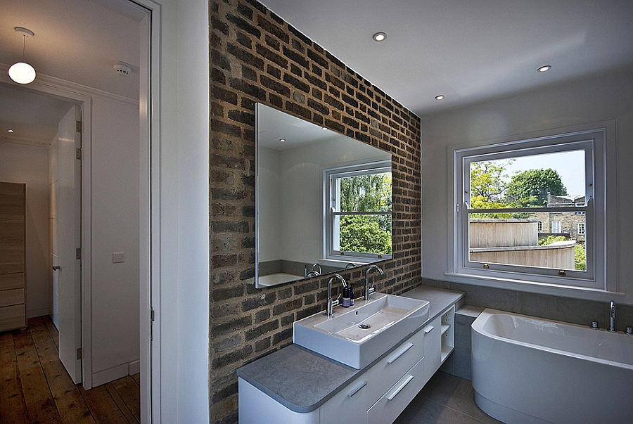 View In Gallery Cool Exposed Brik Wall The Modern Bathroom