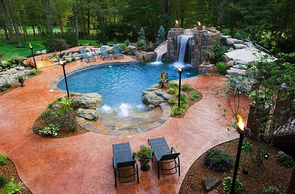 Breathtaking pool waterfall design ideas Cheap pool landscaping ideas