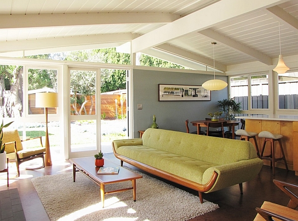 Cool interior borrows heavily from a Mid-Century style
