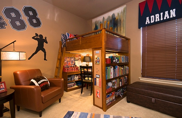 Cool kids' room with reading desk and shelves under the bunk bed