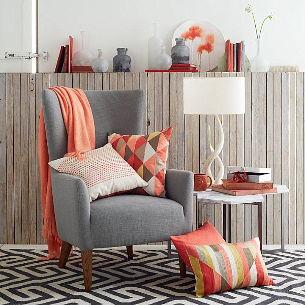 Coral accents from West Elm
