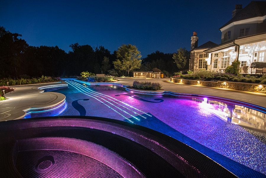 awesome posh enough swimming pool shaped as a violin with pool design ideas