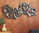 Curved wall art in metallic tones