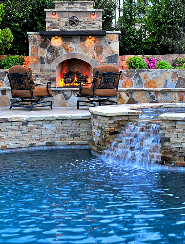 Custom pool, spa and fireplace brought together to create the perfect patio