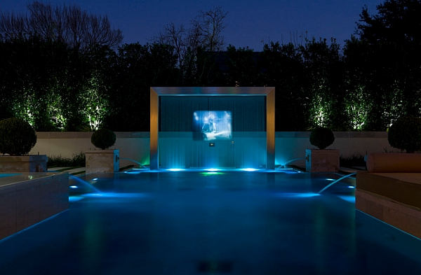 Custom water screen with a rear projection system!