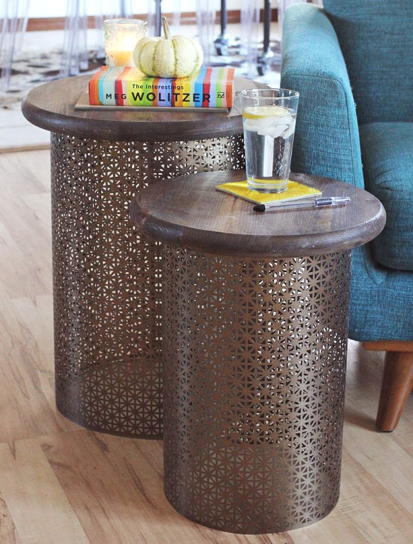 DIY brass and wood side tables