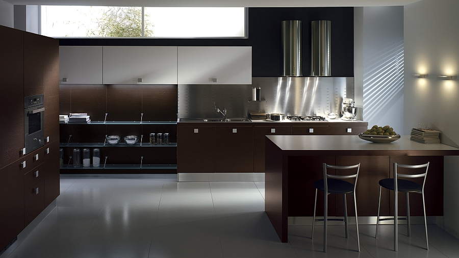 Dark oak kitchen design with ample storage space