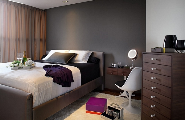 Darker shades of grey create a more intimate setting
