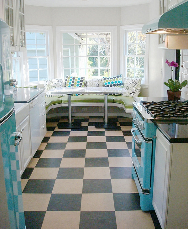 Diner style kitchen with trendy breakfast nook