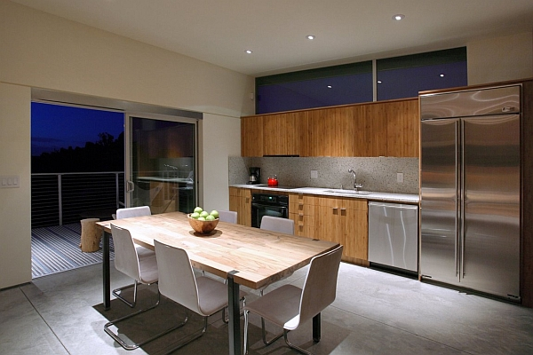 Dining area with a view of the arid landscape