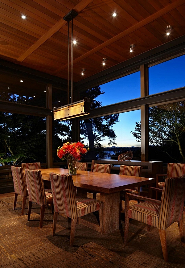 Dining area with unabated lake views