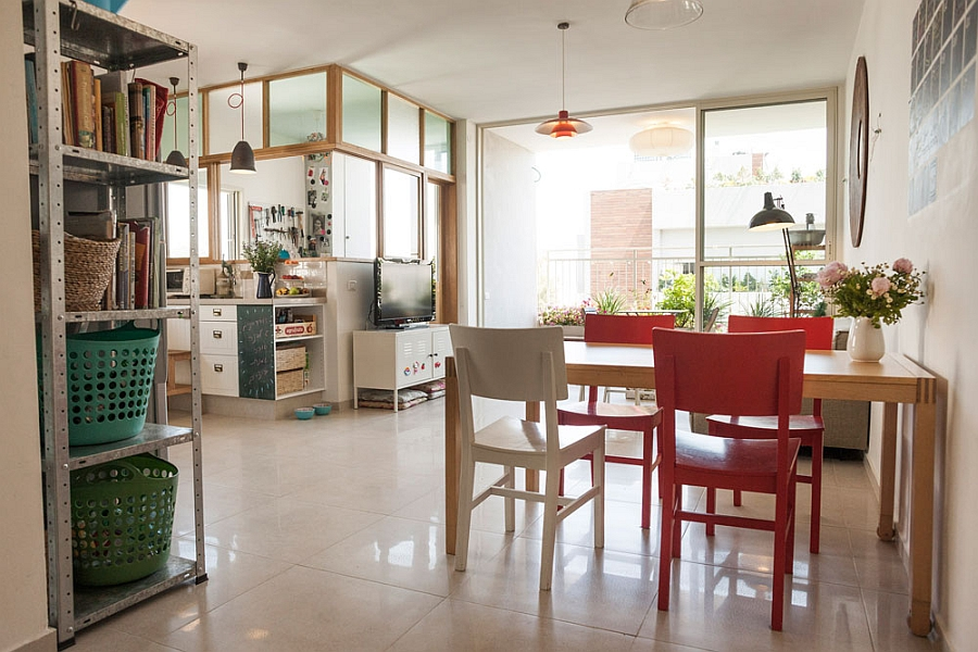 Dining space furniture made out of recycled wood Stylish Seaside Apartment In Tel Aviv Gets A Gorgeous Green Makeover!