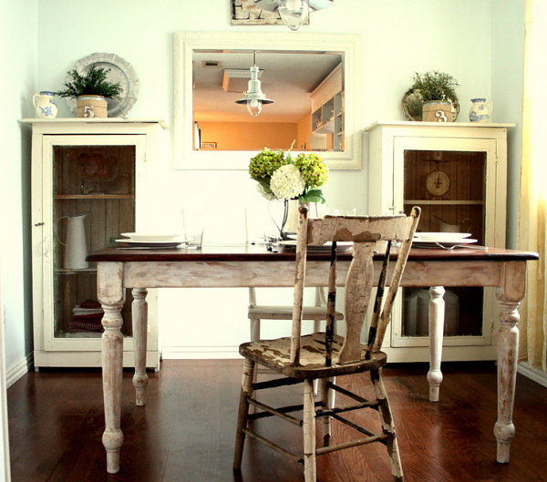 View In Gallery Distressed Table And Chair In A French Country Dining Nook