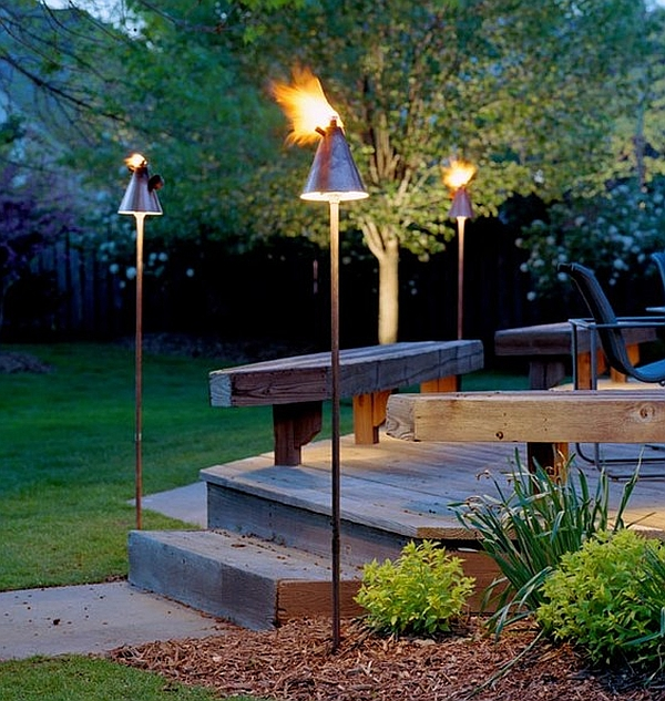 Elevate the entryway with trendy Tiki torches this cold winter