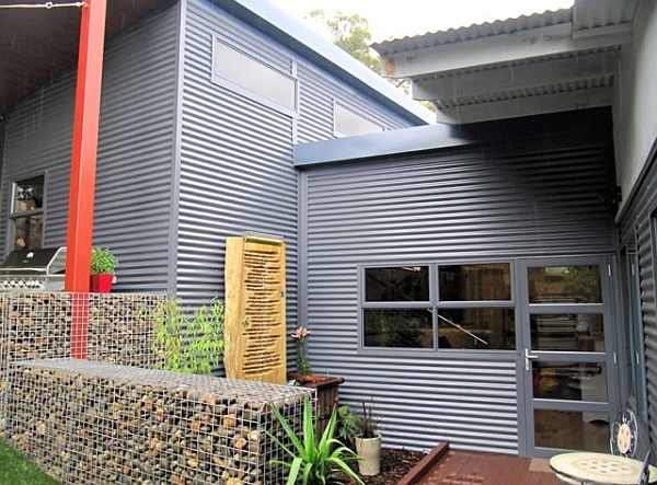 Entrance to the stylish steel frame house
