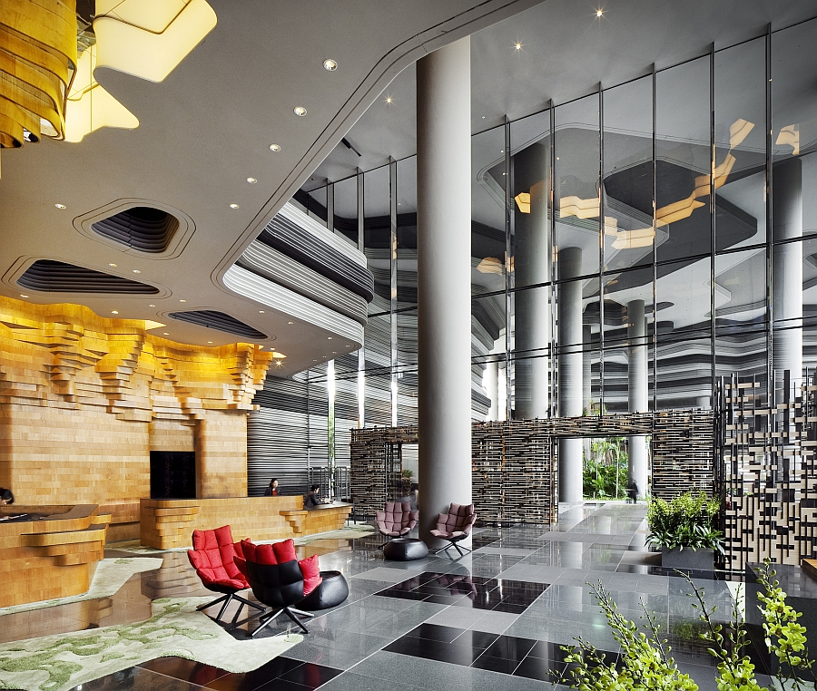 Exclusive reception area of the lavish hotel in Singapore