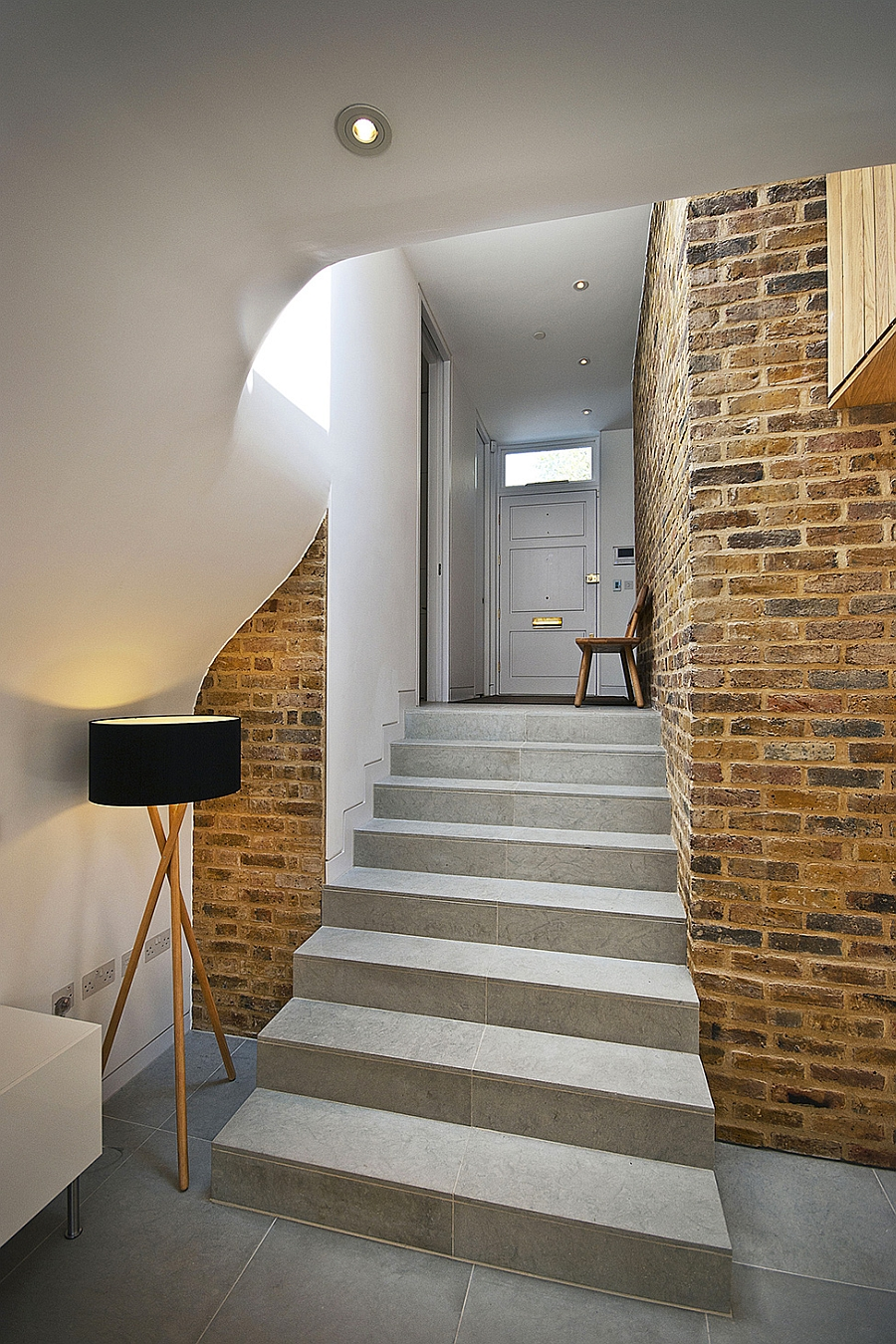 Exposed brick walls of the classic British residence