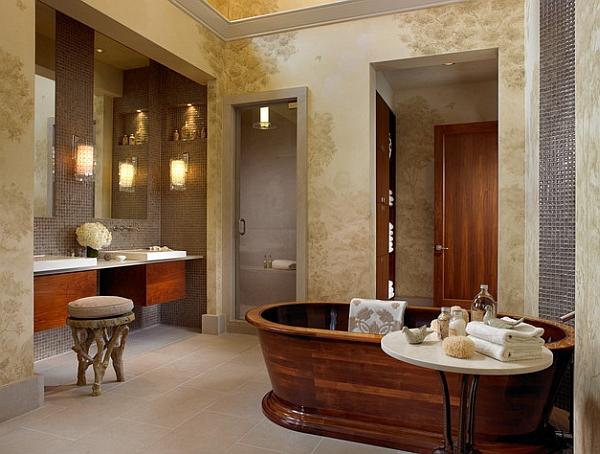 Exquisite bathtub in handcrafted walnut