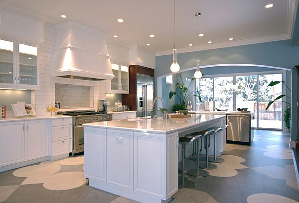 Exquisite modern kitchen in white with energy-saving lighting installations