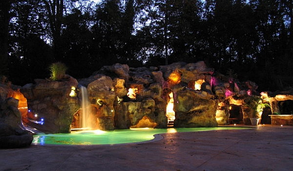 Extensive rock grotto includes a swim-up bar!