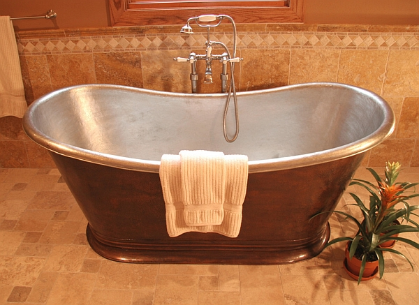 Fabulous freestanding nickel-lined copper tub