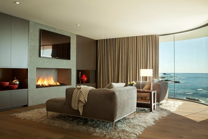 Fireplace and natural views combine to create a romantic setting