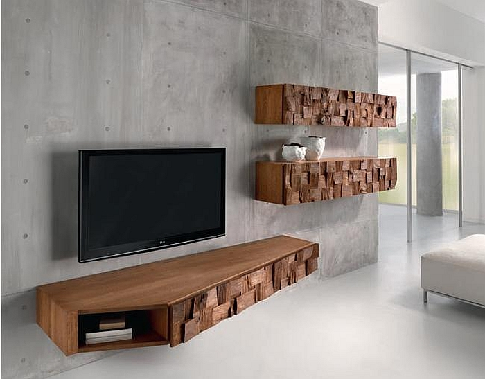 Floating wooden cabinets with random oak blocks Organic And Sculptural Scando Oak Collection Offers Intricate Visual Contrast