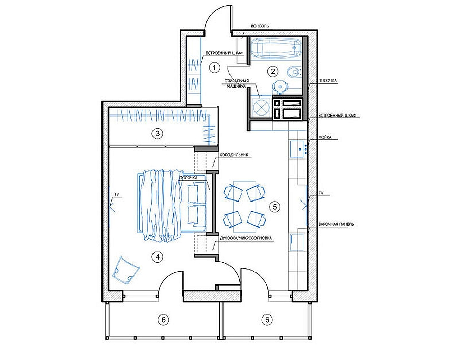floor plan of russian apartment by designer natalia akimov