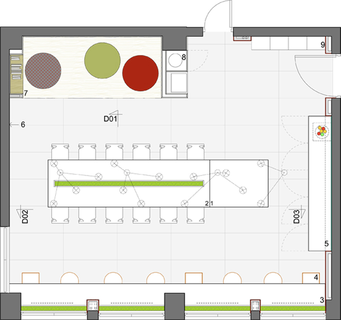 Floor plan of the new green office in Romania