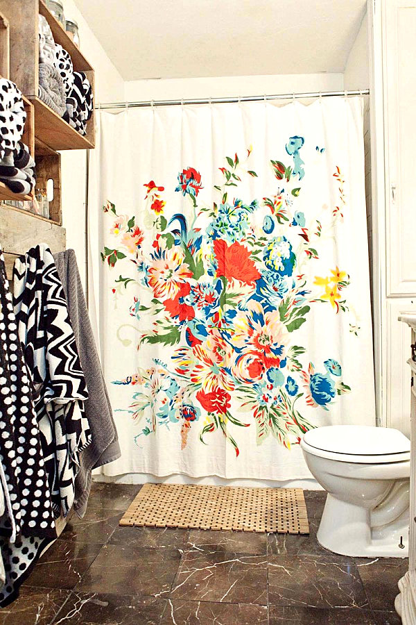 Floral shower curtain 5 Easy Bathroom Makeover Ideas