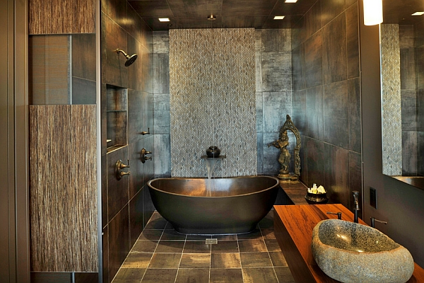 Flowing water feature adds to the beauty of the bathtub
