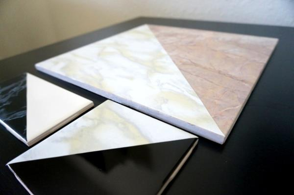 Geometric marble tile DIY project