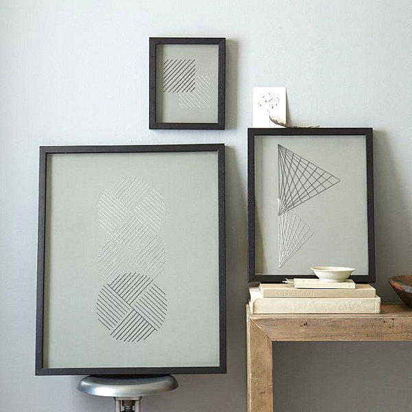 Geometric stitched wall art