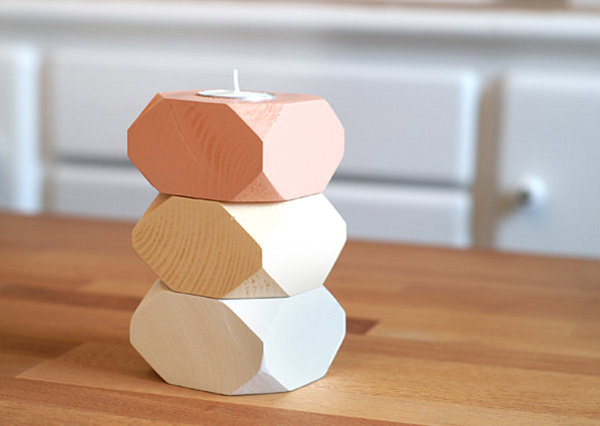 Geometric wooden candle holders