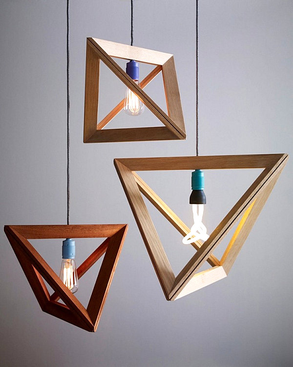 Geometric wooden pendant light